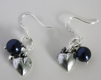 Swarovski crystal pearl and silver heart earrings
