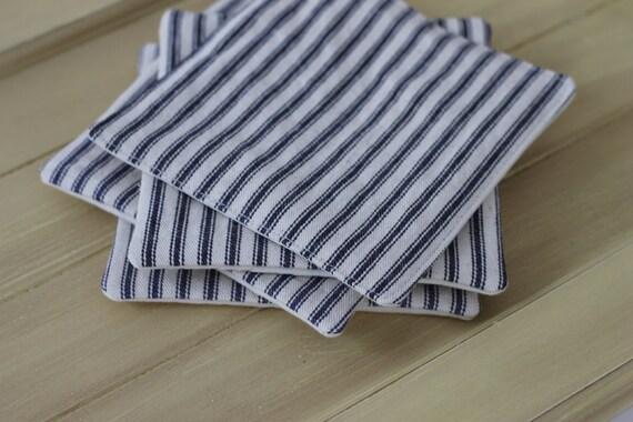 Navy stripe fabric coaster set, french ticking stripe coaster, housewarming gift, cloth coasters, navy  striped mug rug