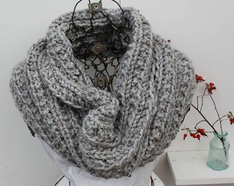 Large Gray Chunky Knit Cowl Large Knit Cozy Chunky Knit Infinity Scarf Chunky Knit Hooded Coverup The Alcott Dove Grey Winter Infinity Scarf