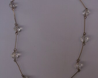 vintage faceted glass bead and wire necklace