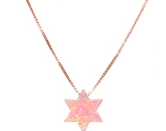 Rose Gold Plated Opal Star of David Necklace 41555
