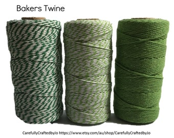 Baker's Twine 100 Metre Spool - Dark Green/Light Green and White, Solid Green- 12 Ply (1.5mm) Cotton String