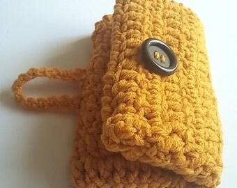 Sale Mustard Crochet Wallet- Crochet Purse can be used for Farmer's market purse- -phone case - Errand Purse- Shopping wallet ready to ship