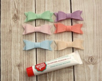 Felt Bows with Girlie Glue All Natural Stick On Glue for Babies.