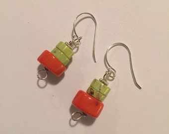 Coral and lime turquoise dangle on sterling.  *tangerine lime*