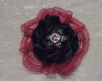 Black Poly Satin Rose Brooch
