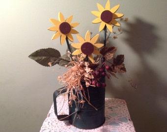Vintage Flour Sifter with Wood Sunflower Arrangement