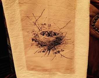Bird nest floursack tea towel
