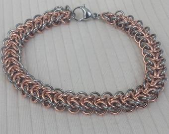 Copper & Stainless Steel Elfweave Chain Mail Bracelet