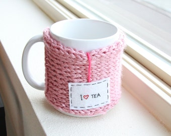 Knit Coffee Personalized Mug, Coffee Travel Mug Cozy, Pink Tea Mug, Tea Lover Gift, Womens Gift, Cup Cozy, Tea Cozy, Coffee Mug Sleeve