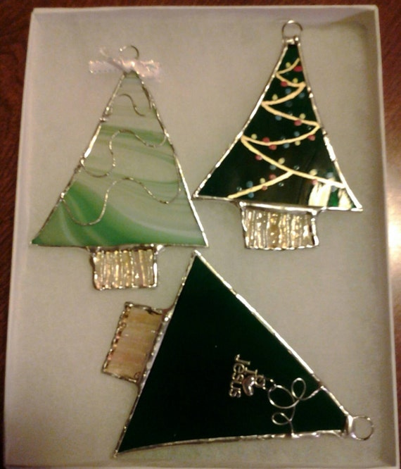 Stained glass christmas tree ornaments handcrafted inch set