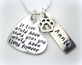 Pet Memorial necklace -  If love could have saved you - name tag aluminum paw dog or cat