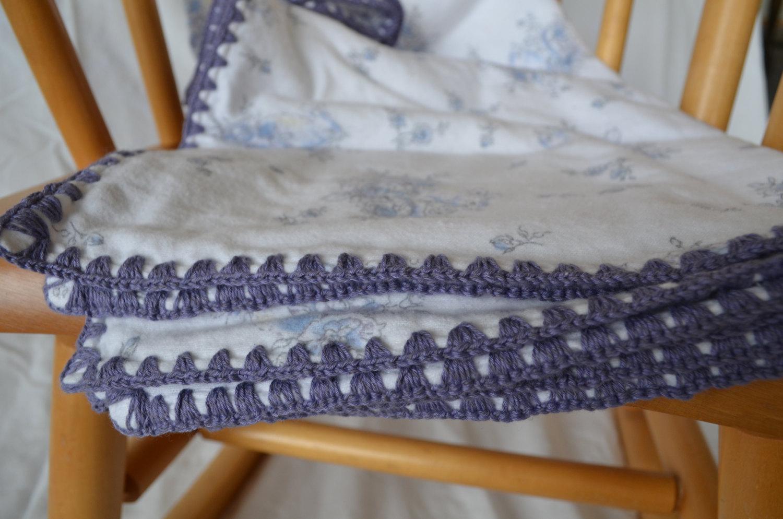 Flannel Baby Receiving Blanket Crochet Border Edging With