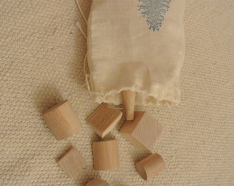 Montessori Mystery Bag with Wooden Geometric Shapes