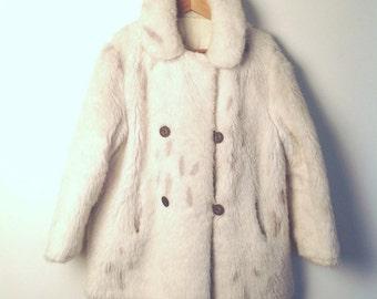 Womens Vintage  Cream Patterned Faux Fur Coat