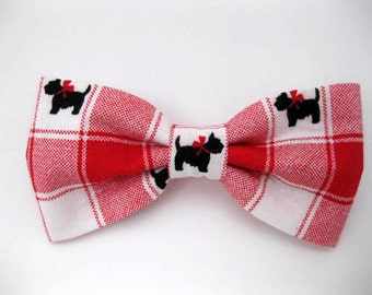 Dog Bow Tie - Scotty Dog - Removable and Adjustable, Bow Tie for Dogs and Weddings, Made to Order in Your Choice of Size