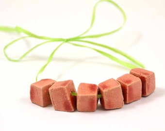 Handmade Ceramic Beads Cubic in Soft Red