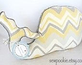Nautical Nursery - Whale Pillow Yellow White and Gray Zig Zag Pattern with Gray Minky / Nautical Nursery