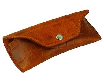 Leather Glasses Case, Handmade, Tan Crocodile Grain Leather