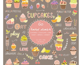 60 Hand Drawn Cupcakes Digital Clipart - Sweet Cupcake - Cakes - Bakery - Chocolate - Dessert - Chalkboard - Menu - Banner - Birthday -Party
