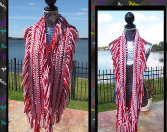 Red & White striped, Fringe Scarf, Tee Shirt Fabric Scarf, Crochet, Handmade,Soft, One of a Kind,Unique,Custom Made