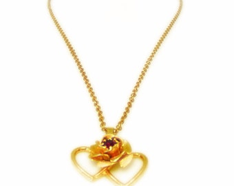 Double Heart and Rose Pendant Necklace with Ruby Red Rhinestone Accent