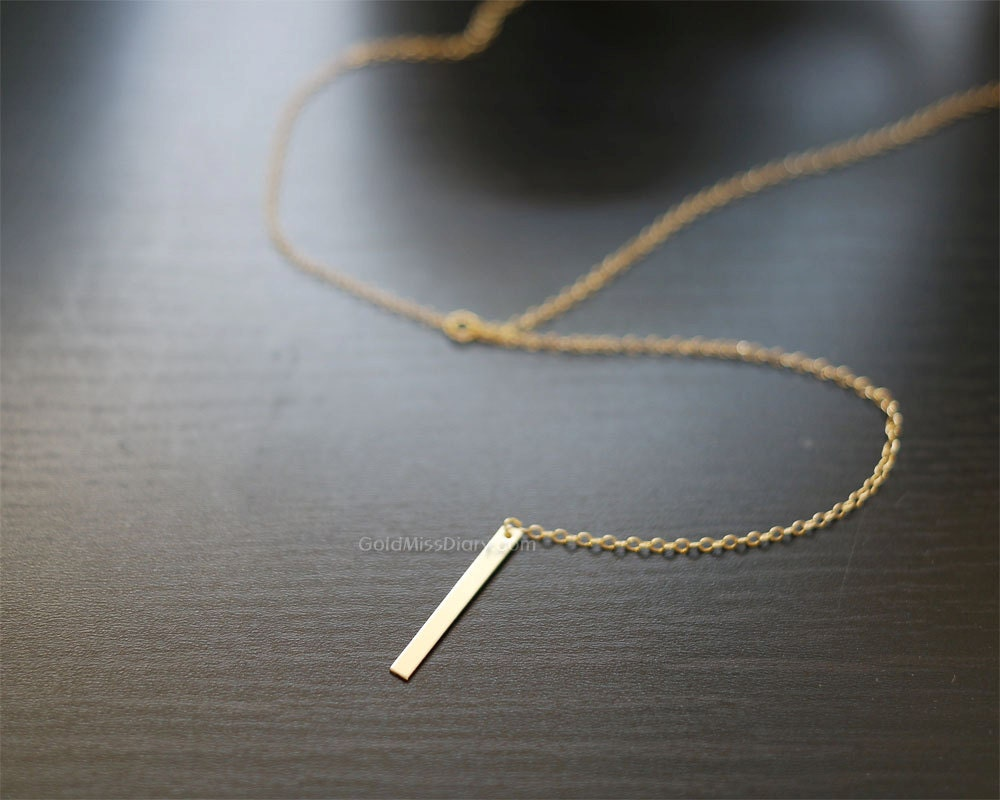 Minimal Gold Bar Drop Necklace / Simple Bar Lariat Necklace