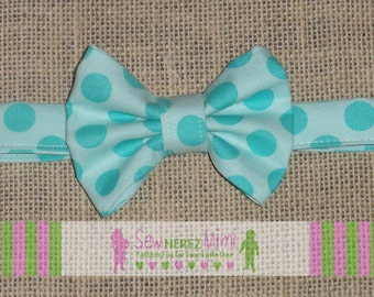 Infant Child Youth Adult Pre-tied Custom Turquoise Aqua Tonal Dot Bow Tie