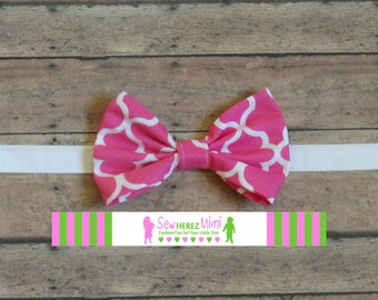 Hot Pink Quatrefoil Bow Tie Sizes Infant, Child, Youth and Adult