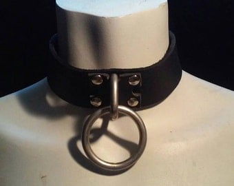 Leather Collar With Bondage Ring (your choice of 1, 2 or 3 rings with collar)