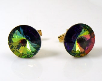Vintage signed Weiss Watermelon Rivoli Cufflinks. Unique vintage, antique costume, estate jewelry