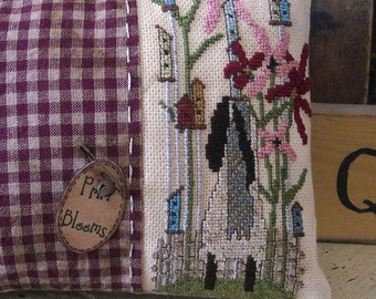 Primitive Sheep Stitchery ePattern Prim Birdhouse Cross Stitch Needlepoint
