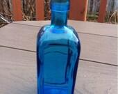 Blue Glass Bottle.Wheaton Bottle. Wheaton Blue Glass Bottle.Collectible Wheaton N.J. Blue Glass Bottle