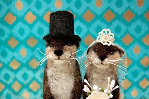 Otter Wedding Cake Topper