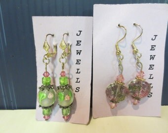 Beautiful Glass Bead Pierced Earrings