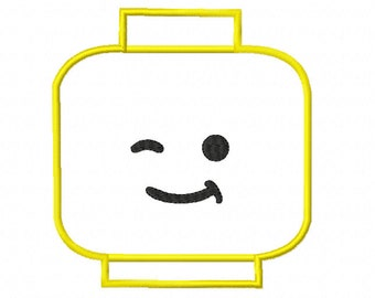 Smile! - Lego Head APPLIQUE Machine Embroidery Design in 4 sizes - 6x6, 5x5, 4x4, 3x3 - Instant Download