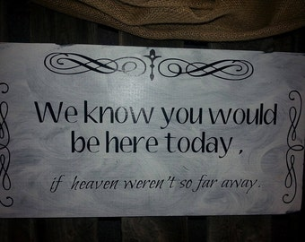 we know you would be here today sign 9.5 x 14