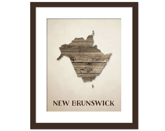 New Brunswick Provincial Map Art Print - Wood Background Rustic Art Poster - Geography Poster - New Brunswick  Canada Art Print - Canada Map