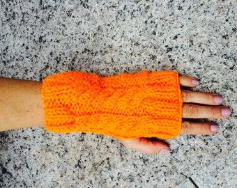 Halloween fingerless, pumpkin knit gloves