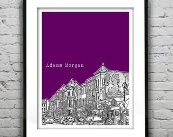 Adams Morgan Washington DC Skyline Poster Art Print