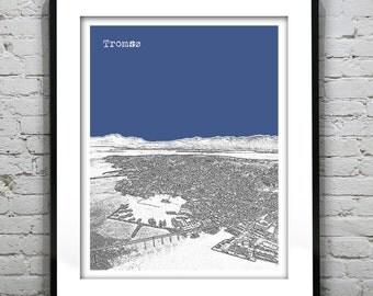 Tromso Skyline Poster Art Print Norway Version 3