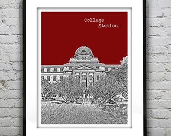 College Station Texas Poster skyline Art Print Texas TX