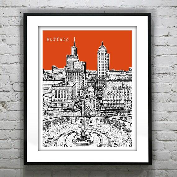 Buffalo Skyline New York Poster Art Print NY Lafayette Square