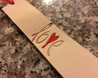 Love Heart Leather Bookmark