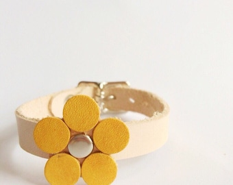 """Leather Flower Bracelet- """"Forget Me Not"""" Bracelet by LPLC"""