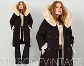vintage MINK FUR wool Coat 60s brown textured blonde massive mink collar swing