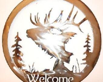 Metal elk head welcome sign