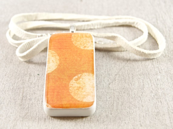 Peach Sherbet Upcycled Domino Pendant Necklace by WiReDBoutique