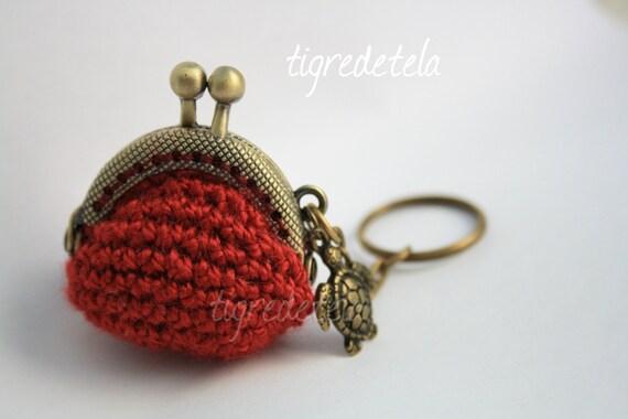 Llavero monedero ganchillo con boquilla bronce key chain for Monedero ganchillo boquilla ovalada
