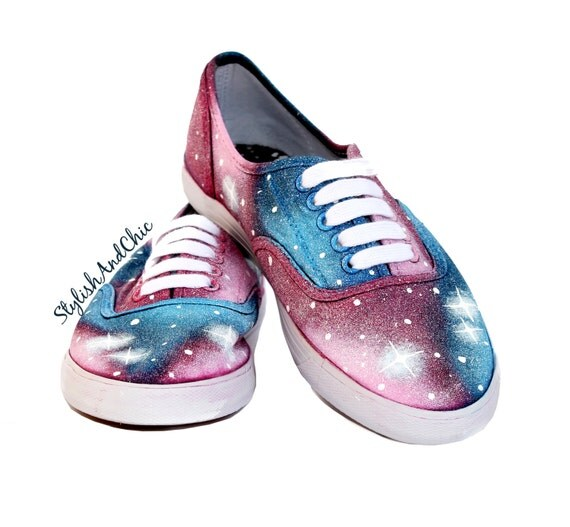 blue and pink galaxy shoes painted